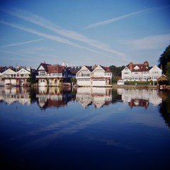 H-o-T lomo 1 (sonofwalrus) Tags: uk england reflection film water thames architecture clouds river boats holga lomo lomography scan riverthames jetstreams henleyonthames