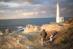 Dog walking / Nikon D600  AF-S Nikkor 35mm F2 (mokuu) Tags: lighthouse dusk walk horizon  dogwalking
