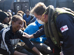 Migrants picked up by HMS Bulwark's LCU (Royal Navy Media Archive) Tags: mediterranean safety landingcraft reserves mediterraneansea solas migrant rnr bulwark lcu assaultship surfaceship newsevent laphotjayallen opweald maritmereserves