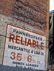 Ghost Signs, San Francisco, CA (Robby Virus) Tags: sanfrancisco california sf ghost signs hotel restaurant rooms day night week with without board pawnbrokers reliable mercantile loan co company money loaned buy sell ad advertisement brick wall