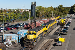A Third of the Fleet (sullivan1985) Tags: train railroad railway morning nysw susquehanna susieq newyorksusquehannawestern southerndivision su100 ws2 emd electromotive sd402 sd60 nysw3018 nysw3806 nysw3808 yellowjacket yellow ridgefieldpark newjersey nj bergencounty eastbound freight freighttrain