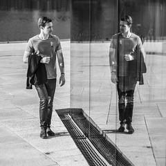 Lookin' At Me??? (Tore Thiis Fjeld) Tags: square oslooperahouse mono bw mirror window glass reflection street lookinatme nikon d800 sigma50mmf14dghsmart