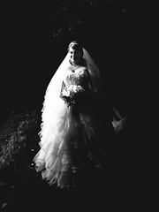 Ethereal Bride (DapperGentMike) Tags: wedding portr portrait bride flowers white ethereal glow blackandwhite black monochrome