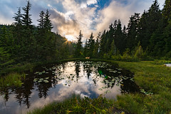 Yew lake sunset (zxorg) Tags: yewlake cypressmountain vancouverbc sun light reflectioninthewater lake mountainlake