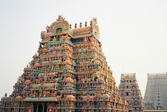 Trichy 1 (grassybrownie) Tags: india trichy hindu hindism hindi temple building architecture god art sky film 35mm camera yashica old vintage