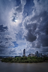 Big clouds little city (noompty) Tags: brisbane brisbaneriver queensland clouds cloudscapes on1pics pentax k1 wideangle hddfa1530mmf28edsdmwr