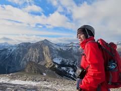 Mt Yamnuska Summit Scramble - Larry with views west (benlarhome) Tags: yamnuska exshaw alberta canada scramble scrambling hike hiking trail path