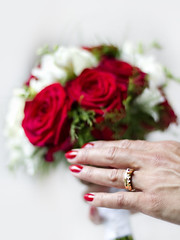 Wedding ring (ClickSnapShot) Tags: wedding roses love closeup happy hand ring romantic bouquet ilobsterit