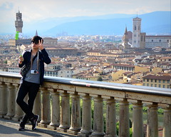 Cathedral in colour (p2-r2) Tags: camera italy mobile florence nikon cathedral tourists dome stick handrail v2 selfie 1nikkor10100mmf4056vr