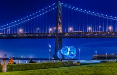 independent expression (pbo31) Tags: sanfrancisco california bridge blue light motion color reflection fall night bay dance nikon spin performance september ring baybridge embarcadero bayarea 80 2015 preformance lightstream boury pbo31 d810