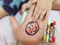 I painted an Anpanman in my hand. (Zorie Huang) Tags: love hand drawing cartoon anpanman