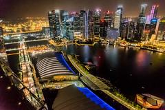 Spectacular Lights (A350WG) Tags: water reflections singapore wasser nightshot harbour cbd hafen fullerton reflexion singapur birdsview vogelperspektive 2015 onefullerton nachtaufnahmen elemente marinabaysands sg50 fullertonbayhotel skyparkmbs
