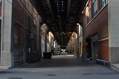 2015-09-22: Under The Tracks (psyxjaw) Tags: bridge summer usa holiday chicago building tower glass america skyscraper train buildings concrete alley towers tracks rail railway september raised straddle