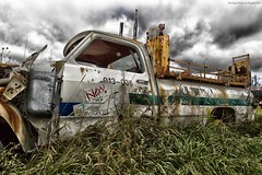 McLean's XXXII (martinaschneider) Tags: old ontario fall abandoned car clouds truck rust rockwood wreckers mcleans