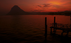 Sunset (Simone R) Tags: red sunset lugano lake ticino switzerland olympus mood ceresio evening winter clounds