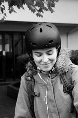 Broke Biker (korisidaway) Tags: outdoorportrait portrait bicyclist vancouverbicyclist bike vancouverbike korisidaway blackandwhite