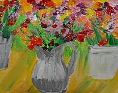 Old Metal Pitcher & Flowers (BKHagar *Kim*) Tags: bkhagar paint painting acrylic art artwork floral flowers pitcher impressionist