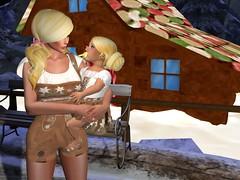 Momma Gretel and Baby Gretel! (Whymsical Marketplace) (thewhitpit) Tags: whymsicalmarketplace romper heels hair blonde dress toddledeedoo shoes baby momma gingerbreadhouse mommyholdingbaby greteltdbabyoutfit gretelgacha story femaleavatar femaletoddledeedoo