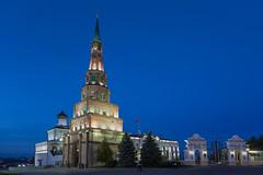 Syembik Tower of Kazan Kremlin (Oleg.A) Tags: autumn cathedral russia kremlin street twilight church city kazan oldtown tatarstan sunset evening catedral town  respublikatatarstan ru