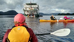 kayaks launched off ship