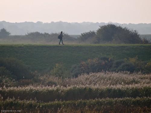Fotograaf wandelt over de dijk