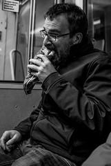 2016_315 (Chilanga Cement) Tags: fuji fujix100t fujixt1 x100t xseries x100s x100 bw blackandwhite pastie pasty commuter train preston prestonstation eating consumption