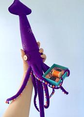 Are You Ready? for LAIKA Studio Show (hine) Tags: laika coraline squid giantsquid felt feltsculpture purple hinemizushima gallerynucleus exhibition art craft toy button