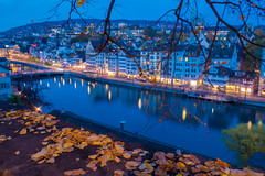 Evening mood in Zurich (alxfink) Tags: city panorama tree wall leaves blue evening lights river reflection zurich switzerland lumix