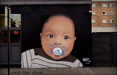 Baby Face Graffiti (roll the dice) Tags: london camden ampthill nw1 morningtoncrescent boozer pub publichouse beer ale pint uk art classic urban england portrait young dummy baby cool face artists canon tourism sportsbar estate flats windows colour council media paint spray brave pacifier dummies teether suck teat eyes nap streetphotography