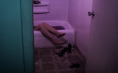 Drowning - Shallow Serenity (KyleApl) Tags: canonphotography canon strobe lighting bath bathtub bathroom purple codeine syrup opiate addiction drown drowning