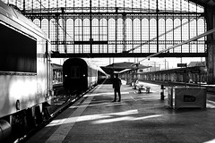 The last car (pascalcolin1) Tags: paris13 austerlitz voiture car wagon train homme man ombre shadow lumire light photoderue streetview urbanarte noiretblanc blackandwhite photopascalcolin