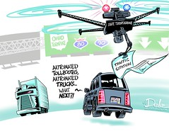 1216 robo turnpike cartoon (DSL art and photos) Tags: editorialcartoon donlee drone ohioturnpike automatedtruck driving highway traffic