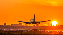 """Boeing 767 on approach during sunrise • <a style=""""font-size:0.8em;"""" href=""""http://www.flickr.com/photos/125767964@N08/20349050508/"""" target=""""_blank"""">View on Flickr</a>"""