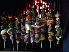 Kabobs on the Grill (angry_issie) Tags: tea bbq toothpicks kabobs barbque fired