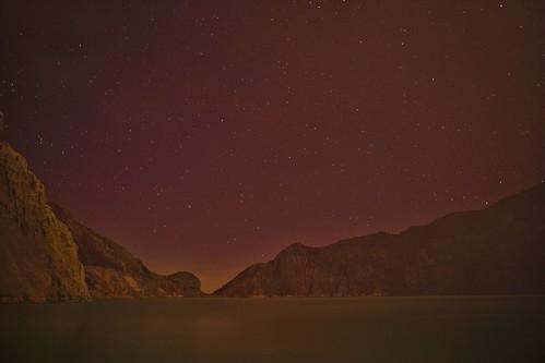 Stars over the Sulfuric lake of Kawah Ijen