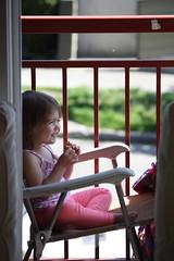 Tea Time Smile (TarHeelDr) Tags: cosette smile balcony fremont