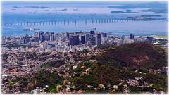 Downtown Rio de Janeiro (JLL85) Tags: brasil brazil riodejaneiro city ciudad mar sea azul blue favela sudamerica southamerica bahia bay edificios centro downtown calle street paisaje landscape scape cielo sky puente bridge barcos boats