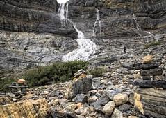 Cairns at Bow Glacier Falls (Patty Bauchman) Tags: waterfall cairns albertacanada banffnationalpark icefieldsparkway numtijahlodge bowglacierfalls bowglacier canadianrockieslandscape