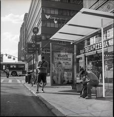 Bus Stop (josh.pomponio) Tags: nyc newyorkcity blackandwhite film mediumformat photography streetphotography kodaktrix blackandwhitephotography kodakfilm semflex