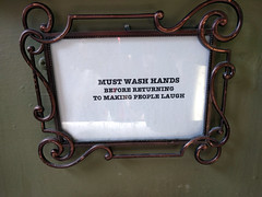 Must Wash Hands Before Returning to Making People Laugh sign, Studio LOL, Los Angeles, California, USA (gruntzooki) Tags: california ca signs sign cali la losangeles funny cal hygiene hygeine