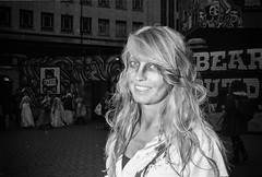Zombies Aren't Supposed To Smile (Shot In The Street) Tags: streetphotography hp5 ilfordhp5 street bw 2016 blonde film zombie female canoneos3 analogue smile woman candid mono monochrome bristol filmisnotdead blackandwhite black ilford bristolzombiewalk2016 white