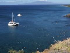 Snorkelers (piranhabros) Tags: snorkel maui catamaran sea blue ocean cliff lanai hawaii