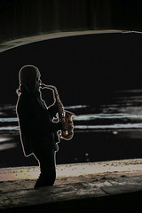 DSC00884  The lonely Saxophonist. (Seaton Carew.) Tags: music beach glow artistic haunting lonely sounds pleasure saxophone practising seatonshot