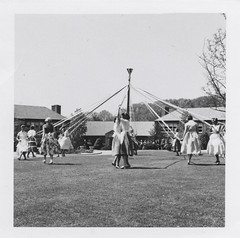 Women dancing around a maypole (simpleinsomnia) Tags: old white black monochrome grass vintage found outside blackwhite dance women day antique snapshot lawn may celebration photograph vernacular mayday foundphotograph maypole