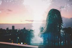 Coloring The Void (Louis Dazy) Tags: city sunset portrait film girl fog skyline analog forest sunrise 35mm dark photography back exposure grain melbourne double prahran