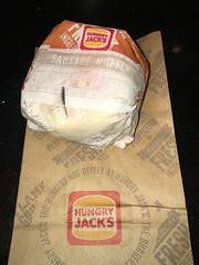 Hungry Jack's Brekkie Sausage Muffin (Like_the_Grand_Canyon) Tags: travel food airport fast australia melbourne australien flughafen dezember reise 2015