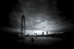 London (Larson.patrik) Tags: london europe black white contrast cloud bigben big ben eye wheel water boat bird dramatic horizon light