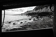 Beachwalk 1 (Stu G2006) Tags: canon eos 500d eastbourne holywell groynes cliffs bw