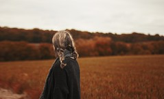 autumn (Lucy MichaeIa) Tags: autumn orange september october girl hair blonde braids cardigan warm cosy seasons sky season fall fields nature field trees scenic landscape adventure white cold people walking travel outside camera wide wheat photography outdoor depth