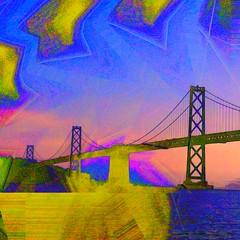 "Bay Bridge Abstraction (""Cisco Kid"") Tags: sanfrancisco photoshop bridge yellow blue water bay ocean"